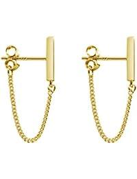 Minimalist Chain Earrings Dangle Earrings Sterling Silver Bar Earrings for Women Girls
