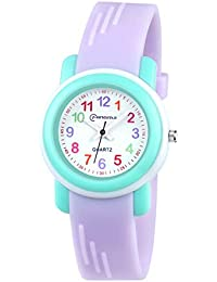 Kids Analog Watch for Girls Boys Watches Waterproof Children Time Teacher Toddler Analog Quartz Wrist Watches for Child Gift (Purple)