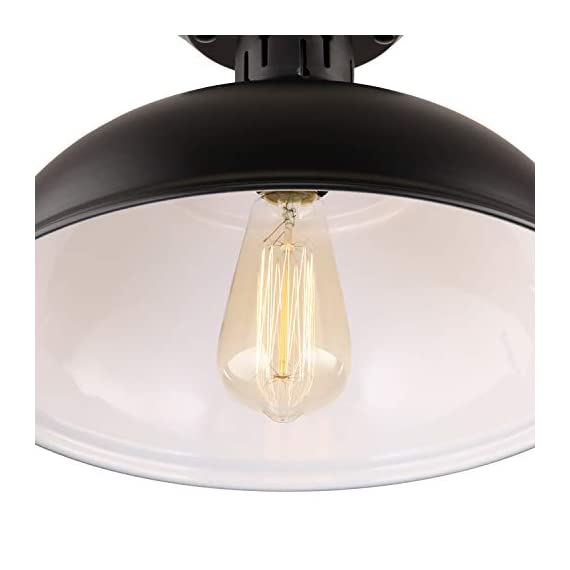 HMVPL Semi Flush Mount Ceiling Light Fixture, Farmhouse Black Close to Ceiling Lighting Industrial Decor Lamp for Kitchen Island Bedroom Living Room Foyer Hallway Entryway Office Closet - Wide Application: Kitchen Island, Dining Room, Living room, Bed room, Café, Bar, Hotel, Office, Hallway, Entryway, Foyer, barn, warehouse, basement, garage, porch, and more. Retro Industrial Design - This pendant light features on the black finish lampshade, which easily brings you back to 19th century. It will adds stylish touch to your house and business areas. Medium Base Socket -Designed with E26 bulb socket that is compatible with a variety of bulb types: Incandescent, Halogen. LED (60W Max, Not Included). This fixture can be dimmable if use compatible dimmer switch and bulb. - kitchen-dining-room-decor, kitchen-dining-room, chandeliers-lighting - 31wh6tMlgkL. SS570  -