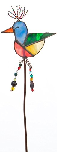 Stained Glass, beaded, copper rod, Garden Stakes, Flower Pot Decorations, Colorful Bird (Contemporary Hobo)