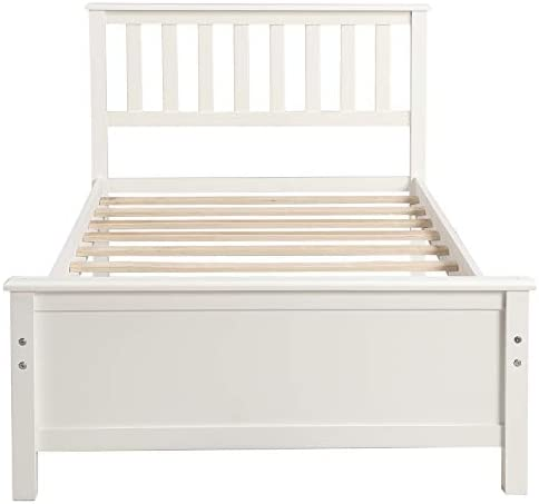 Harper&Bright Designs Wood Platform Bed with Headboard, Footboard, Wood Slat Support, No Box Spring Needed(Twin, White) 31wh8XP3dML