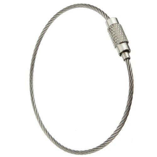 SODIAL(R) 30 x Llavero Anillo Acero Inoxidable Cable de Bloqueo Accesorios al Aire Libre