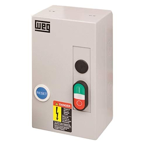 WEG Electric ESW-B18V24A-R32, 3PH, 18 Amps, 11-17 Overload Range, 208,240 Coil Voltage, IEC Enclosed Motor Starter, Nema 1 Enclosure, Start/Stop + Reset Pushbuttons