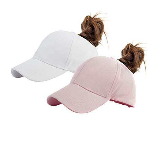Cotton Ponytail Hats Pony Tail Caps Baseball for Women (Pink+White) ()