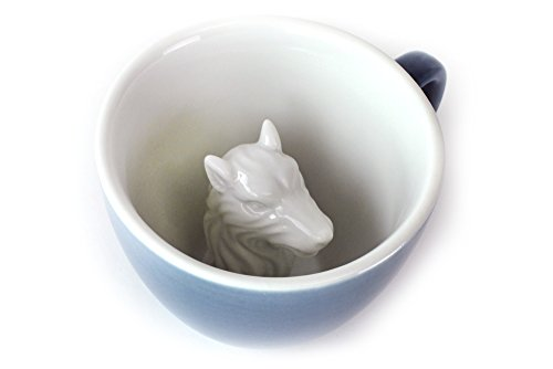 Creature Cups Wolf Ceramic Cup (11 Ounce, Cobalt Blue) | Hidden Animal Inside | Holiday and Birthday Gift for Coffee & Tea Lovers - Wolf Ceramic Mugs