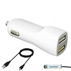 2.1Ah Car/ Vehicle/ DC Charger for Asus ZenFone 2/ ZenFone 2 Laser/ ZenFone 2E/ ZenFone 5/ ZenFone Selfie/ ZenFone 6/ ZenFone Zoom (with Dual USB Port, USB Charging Cable included) - White + MyNetDeals Stylus