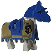 LEGO White Horse w/ Blue KKII Lion Pattern Barding & Blue Battle Helmet