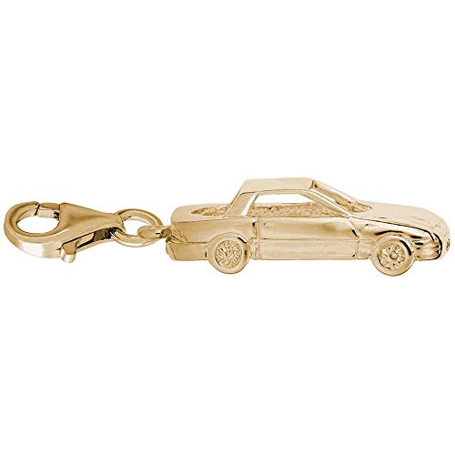 Rembrandt Mid-Engine Sports Car Charm with Lobster Clasp, Gold Plated Silver