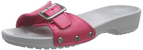 crocs Women's Sarah W Wedge Sandal, Raspberry/Light Grey, 11 M US