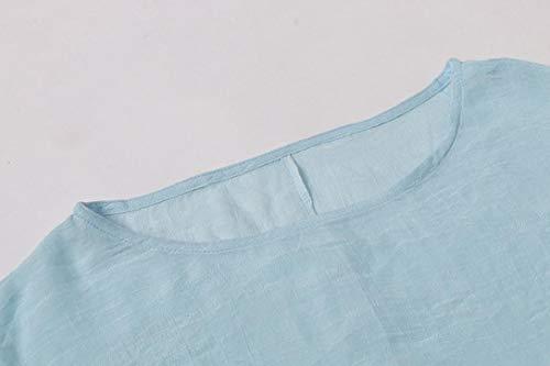 Devant en Longues Top Lenfesh Chemisier dcontractes Clair Femmes Manches Bleu o col Cravate 5ptYxnzwIq