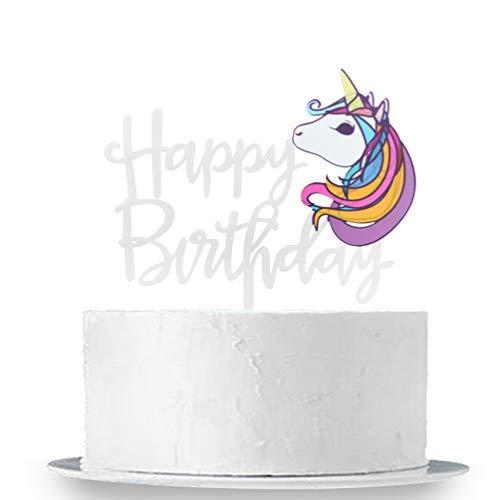 INNORU - Decoración para Tarta de cumpleaños, diseño de Unicornio, Color Blanco