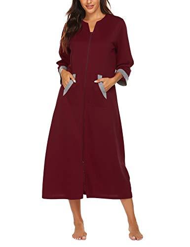 Ekouaer Women Zipper Robe 3/4 Sleeves Loungewear Full Length Sleepwear Pockets Housecoat Long Soft Bathrobe