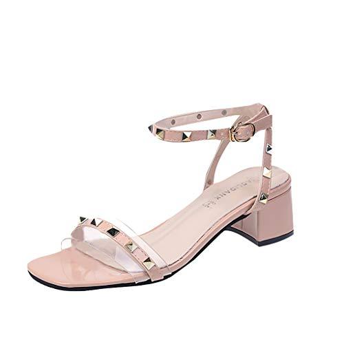 (LIM&Shop Women's Rivets Studs Strap Flats Summer Daily Buckle Flat Sandals Comfort Flat Sandals Dress Shoes Pink)