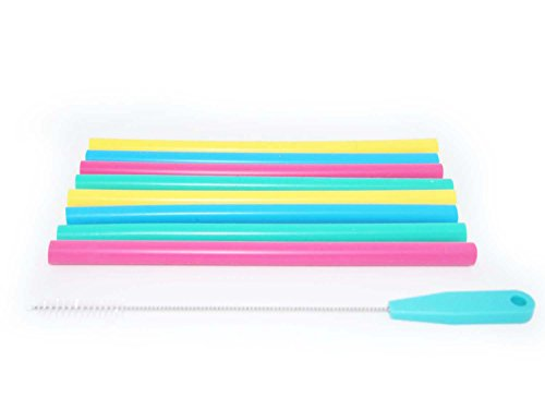 Adult & Kid's Reusable Silicone Straws for 8 to 16oz Mason Jars or Tumblers, Pack of 8 colorful straws + Cleaning Brush by Jervis & George