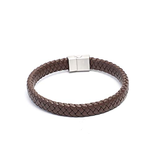 BeBajrang Thin Braided Mens Brown Leather Bracelet Narrow Weave 10.5 X 5.5 mm Thickness, White Plated Stainless Steel Magnetic Clasp Lock, Young Mens Braided Leather Bracelet