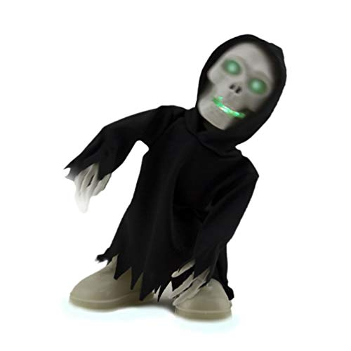 Ick Home Walking Talking Light Up Grim Reaper Dancing Skeleton Halloween Decoration Eyes -