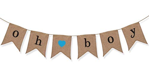 Sterling James Co. Oh Boy Burlap Banner - Baby Shower Decorations for Boy - Gender Reveal Party ()