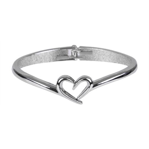 Unique Open Heart 7 Inches Stainless Steel Womens Cuff Bangle Bracelet Jewelry (Silver)