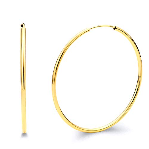14k REAL Yellow Gold 1.5mm Thickness Endless Hoop Earrings (25 x 25 -