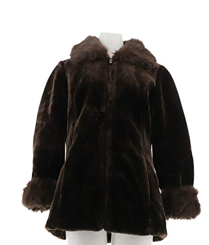 Dennis Basso Faux Fur Sheared Mink Bomber Jacket Hood Chocolate XS NEW A259807