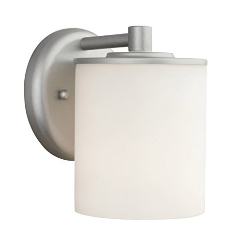 Forecast Lighting F8499-41 Midnight One-Light Exterior Wall Light with Etched White Opal Glass, Vista Silver