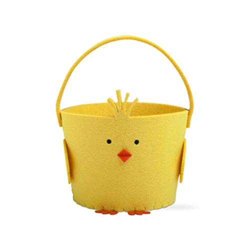 Chick Easter Basket - Tag Chick Felt Basket Yellow Embroidered Details Storage Bin Decorative Toy Baskets Round Polyester Kids Bucket Nursery Handbasket