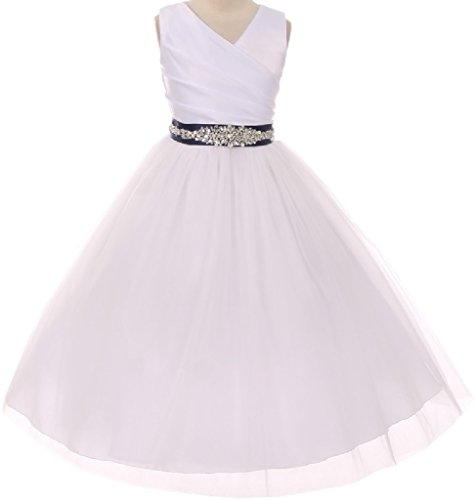 Price comparison product image Big Girls' Custom Rhinestone Belt Communion Wedding Flowers Girls Dresses White Navy 8 (MB27K6CB)