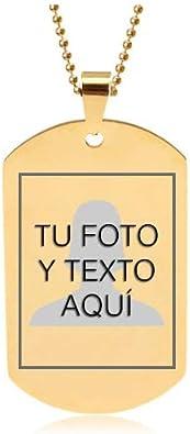 TusPlacas Colgante Hombre con Foto o Texto Personalizados - Chapa Acero Inoxidable Grabada - Colgante Foto Estilo Chapas Militares - Incluye Bolsita de Regalo y Cadena de Acero de Bolitas: Amazon.es: Joyería