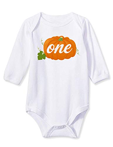 (Baby Childres Open Bottom Snap Closure Boydsuit Plain White Orange One Pumpkin Graphic Printed Designer Sayings Plain Jumpsuit Awesome Infant Girls Boys One Piece Layette for Winter Fall Autumn Wear)