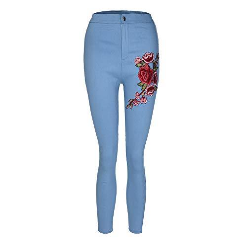 Blu Casuali Pantaloni meibax Floreali Skinny Pantalone Jeans matita Autunno Ricamati estate Donna A Pants E Con Farfalla skinny pantaloni Applicazioni g4gHrnwqS