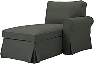 The Gray Ektorp Chaise with ARM Cover Replacement Is Custom Made For Ikea Ektorp Chaise Lounge with Arm Sofa Slipcover (ARM on Right)  sc 1 st  Amazon.com : ikea ektorp chaise lounge - Sectionals, Sofas & Couches