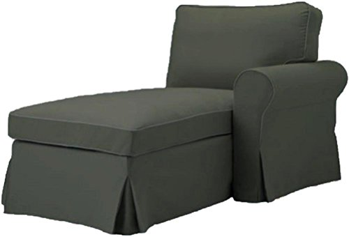 The Gray Ektorp Chaise with ARM Cover Replacement Is Custom Made For Ikea Ektorp Chaise Lounge with Arm Sofa Slipcover (ARM on Right) (Custom Chaise Lounge)