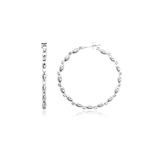 RIAH FASHION Lightweight Rhinestone Pave Statement Hoop Earrings - Sparkly Bridal Wedding Cubic Zirconia Crystal Wire Round, Teardrop Pear, Heart (Rope Mix 40mm - Silver)