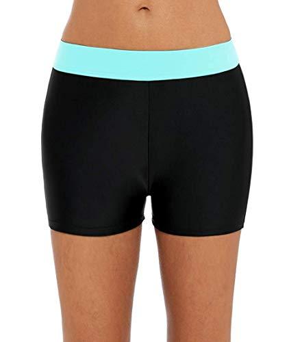 Charmo Women Splice Swim Shorts Colorblock Boardshorts Ladies Tankini Bottom Medium Aqua Black -