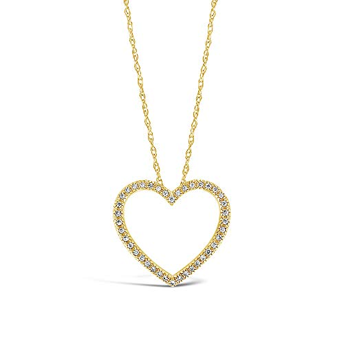 Brilliant Expressions 10K Yellow Gold 1/8 Cttw Conflict Free Diamond Open Heart Pendant Necklace (I-J Color, I2-I3 Clarity), Adjustable Chain 16-18 inch