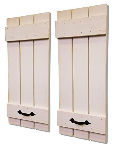Countryside Rustic Pair of Decorative Board and Batten Shutters Available in 20 Colors - Shown in Antique White with Decorative Handles - Choose from 4 sizes 40
