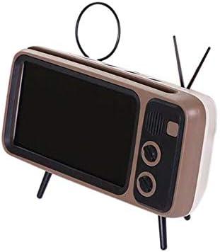 PTH800 Retro TV Bluetooth Altavoz inalámbrico Soporte para teléfono, Mini Altavoz portátil Bluetooth Diseño de TV Soporte para teléfono móvil Radio FM Retro 90S (Café): Amazon.es: Electrónica