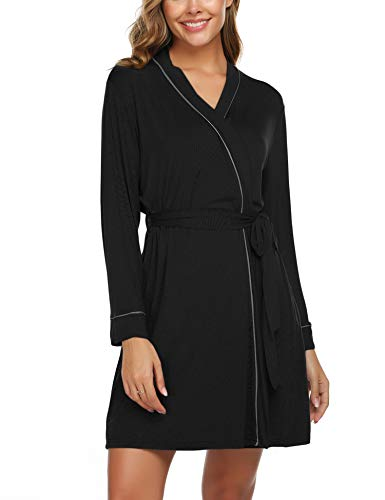 Avidlove Womens Robe Cotton Lightweight Robe Short Knit Bathrobe Soft Sleepwear Black