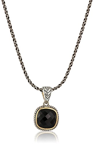 EFFY Womens 925 Sterling Silver/18K Yellow Gold Onyx Pendant Necklace, Black, 18