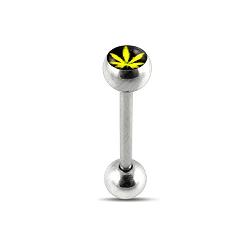 Yellow Pot Leaf MARIJUANA Logo Tongue Ring. 14Gx5/8(1.6x16mm) 316L Surgical Steel Barbell with 6/6mm Ball Tongue Piericng jewelry. Price per 1 Piece only.