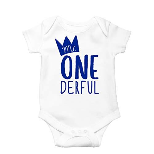 Mr One-Derful Baby Boys 1st Birthday Bodysuit First Birthday Outfit for Boys