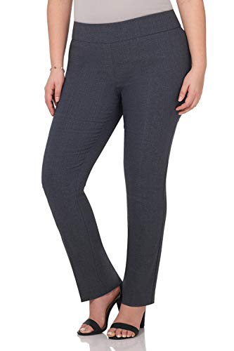 (Rekucci Curvy Woman Plus Size Modern Straight Leg Pant w/Tummy Control (18W,Indigo Tartan))