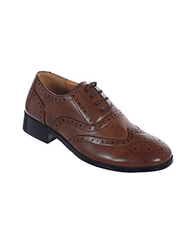 Avery Hill Boys Lace-Up Formal Oxford Style Dress Shoes - BRWN Toddler 8 ()