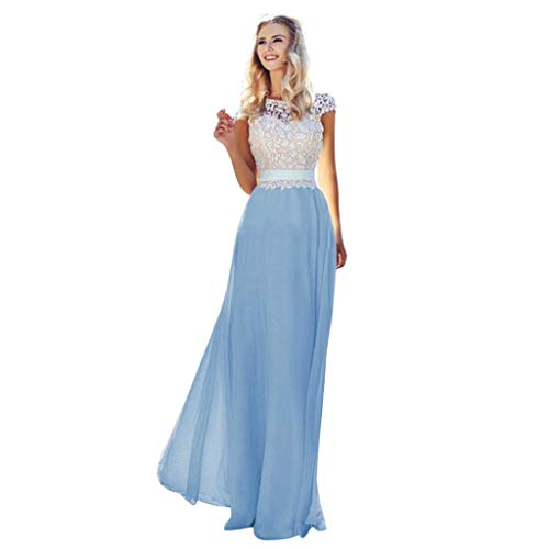 - Tantisy ♣↭♣ Women's Lace Stitching Elegant Maxi Dress Sexy Backless Tulle Party Gown Birthday Wedding Cocktail Dress Blue