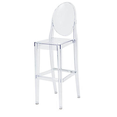 Ghost' Clear Polycarbonate Stackable Backed Barstool by Generic