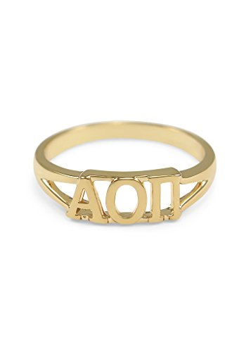 Alpha Omicron Pi 14k Gold Plated Sorority Ring with Greek letters