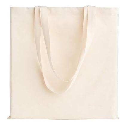 POLHIM-Bolsa Tela 100% Algodón Biodegradable,Lavable,Reutilizable-Asas Largas de 70cm.Para Ropa,Manualidades,Alimentos,Verduras, ir de paseo y para ...