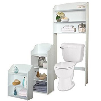 3 Piece Freestanding Bathroom Storage Set Includes Spacesaver, Wall Cabinet and Floor Cabinet Made w/ Manufactured Wood in White