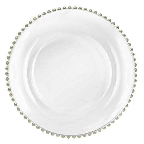 Tiger Chef 12-inch Silver Round Beaded Glass Charger Plates Set of 2,4,6, 12 or 24 Dinner Chargers (2-Pack)