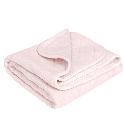 - TILLYOU Allergy-Free Quilted Thermal Baby Blanket for Cribs - Thick Breathable Toddler Bedding Blanket for Boys, Girls - 100% Soft Jersey Cotton & Warm Microfiber Batting, Heather Pink, 39x39